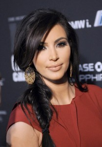 Kim Kardashian Hairstyles - Braided with Bangs
